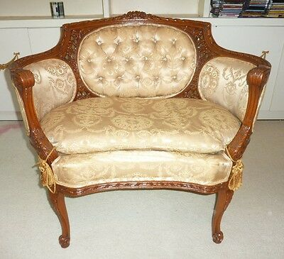 Antique Louis French tufted Carved wood settee Chair down cushion