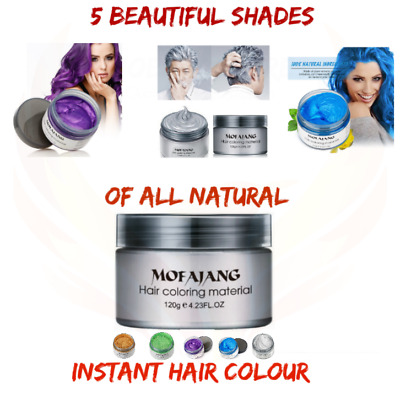 Instant Temporary Hair Colour Wax. Washout Grey Blonde Red Purple Blue Hair Dye