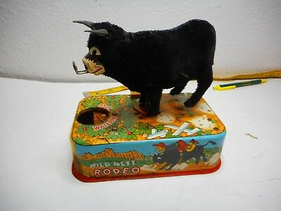 Vintage Tin Battery Operated Wild West Rodeo Bank