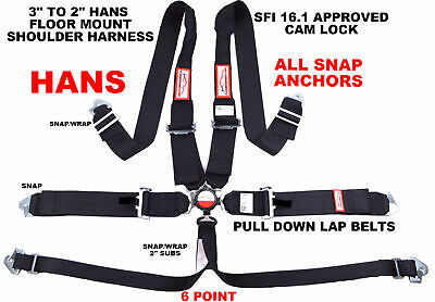 "Hans Racing Harness 6 Point Floor Mount 3"" Cam Lock Sfi 16.1 Black"
