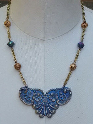 Art Nouveau Style Floral Flower Coblat Blue Crystal Bead Necklace Brass Filigree