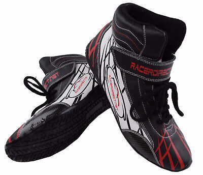 Junior Dragster Racing Shoes Black  Red  White Sfi 3.3/5 Racerdirect Size 2