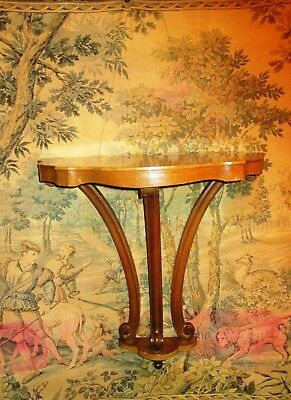 Antique Demilune Table Wall Mount Console Corbell Half Circle Schotts Entry Vtg