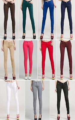 Women Candy Color Pants Slim Fit Stretchable Jean Bottom Zipper Skinny Trouser