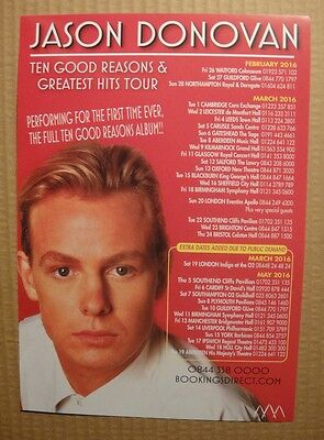 Jason Donovan - Large Uk Tour Flyer - Spring 2016