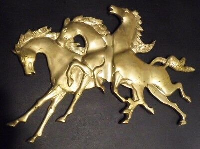 Solid Brass Vintage Horse Racing Wall Hanger Decor Antique Western Style RARE