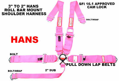 Hans Safety Harness  Cam Lock Racing Sfi 16.1 5 Point Seat Belt Pink