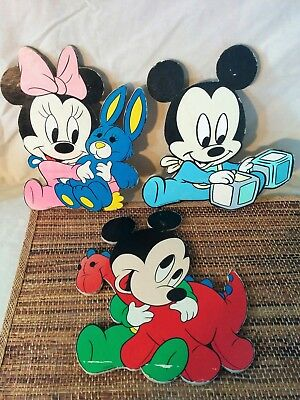 DISNEY Baby MICKEY MINNIE Wall Plaques Nursery Decor  Pluto Set 3 Vintage