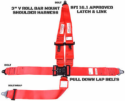 Latch & Link 5 Point V Mount Racing Harness Signature Series Sfi 16.1 Red