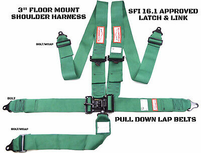 Latch & Link 5 Point Floor Mount Racing Harness Signature Series Sfi 16.1 Green