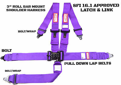 Latch & Link 5 Pt Roll Bar Mount Racing Harness Signature Series Sfi 16.1 Purple