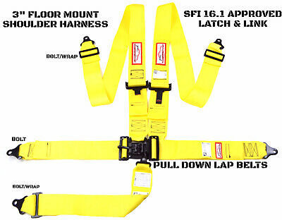 Latch & Link 5 Point Floor Mount Racing Harness Signature Series Sfi 16.1 Yellow