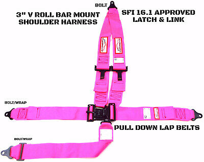 Latch & Link 5 Point V Mount Racing Harness Signature Series Sfi 16.1 Hot Pink