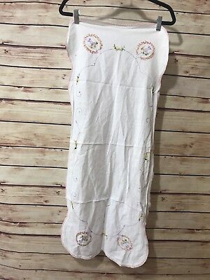 """Vintage Table Runner Hand Embroidered White Multicolor Floral 16""""x39"""""""