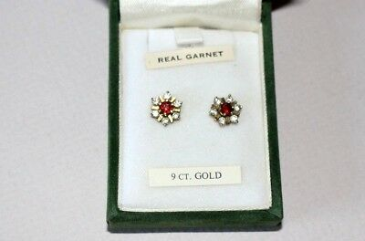 Vintage 9Ct Gold Garnet And Clear Faceted Stones Earrings / Studs. Boxed.