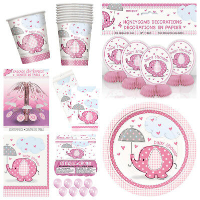 PINK UMBRELLAPHANTS RANGE - Baby Shower Party Supplies, Decorations, Games, GIRL