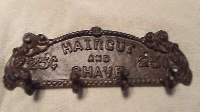Antique Style cast Iron Barber Haircut and Shave Coat Rack/wholesale lots coming