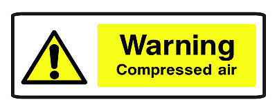 5 x WARNING COMPRESSED AIR SELF ADHESIVE STICKERS SAFETY SIGNS BUSINESS
