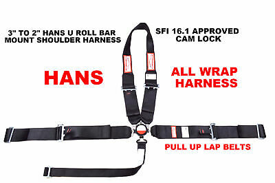 "All Wrap Racing Harness Sfi 16.1 5 Point Hans U Roll Bar Mount 3"" Cam Lock Black"