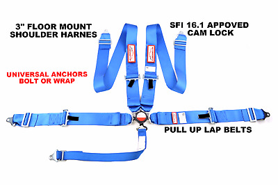 "Floor Mounted Sfi 16.1 Racing Harness Universal 5 Point Seat Belt 3"" Cam Lock"