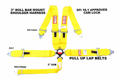Sfi 16.1 Pull Up Lap Belts Racing Harness 5 Point 3 Cam Lock Yellow Or Any Color