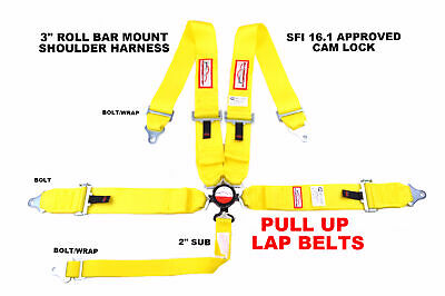"""Yellow 3"""" Racing Harness Sfi 16.1 Pull Up Lap Belts 5 Point Cam Lock Racerdirect"""