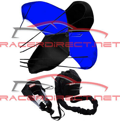 Drag Racing Parachute Spring Loaded Drag Safety Chute Black & Blue Racerdirect