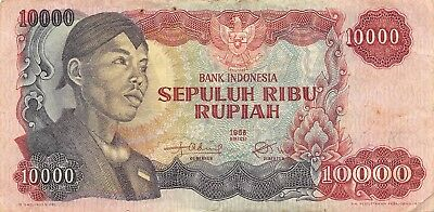 Indonesia  10,000  Rupiah  1968  P 112a  Series OAT  Circulated Banknote LHJ15
