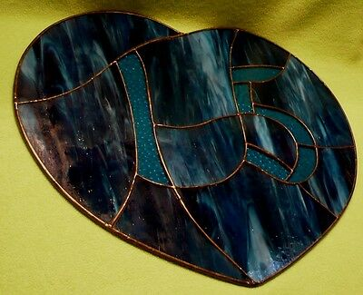 Vintage handcrafted heart shaped STAINED GLASS house number '15'  in vivid blues