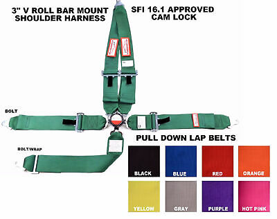 """Racing Harness Seat Belt Sfi 16.1 5 Point 3""""  V Mount Cam Lock Any Color"""
