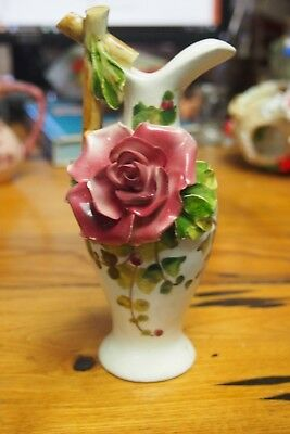 Vintage Hand Painted Pitcher Figurine / Vase – White with a Rose on side
