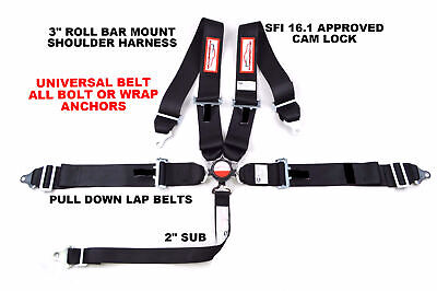 "Cam Lock Racing Harness Seat Belt 3"" Sfi 16.1 Universal 5 Point Black"