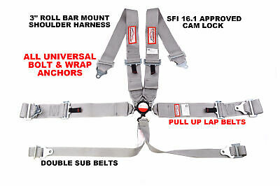 "6 Point Racing Harness Pull Up Lap Belt Roll Bar Mount 3"" Cam Lock Sfi 16.1 Gray"