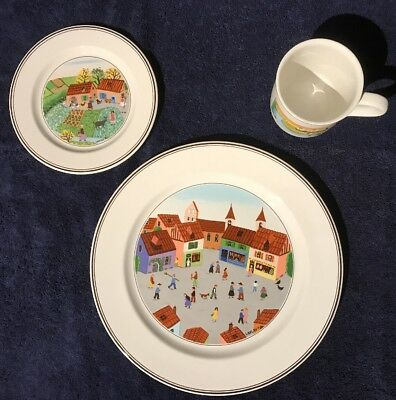 Villeroy & Boch DESIGN NAIF 3 Piece Place Setting Gift Quality