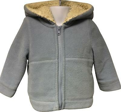 PRE-OWNED Boys Mini Boden Light Blue Warm Hooded Coat Size 18-24 Months VF169