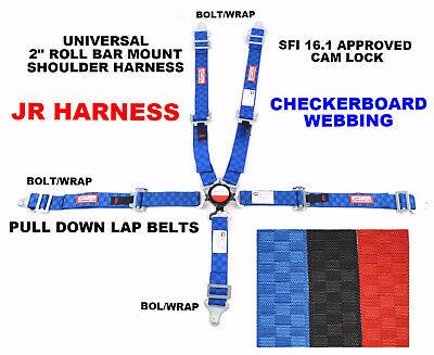 "Quarter Midget Race Harness 5Pt 2"" Sfi 16.1 Universal Cam Lock Blue Checkerboard"