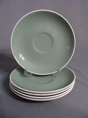 5 Harker Ware Green & White Saucers, USA