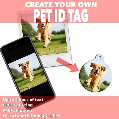 Create Your Own PET ID TAGS - Use Own Photo Image Design - Unique Dog Tags