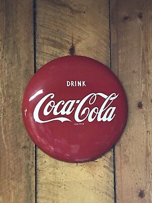 1950's Round Drink Coca-Cola Button Sign 16 inch AM96