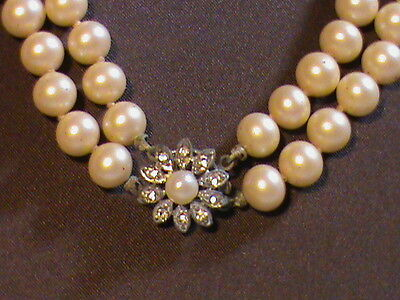 Vintage Double Strand of Ivory Faux Pearls with flower rhinestone box closure