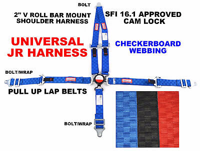 Quarter Midget Racing Harness Pull Up Sfi 16.1 Universal Blue Checkerboard
