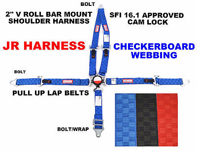 "Quarter Midget Racing Harness 5 Pt 2"" Sfi 16.1 Pull Up Lap Blue Checkerboard"