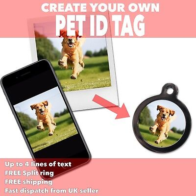 Create Your Own PET ID TAGS - Use Own Photo Image Design - Personalised Dog Tag