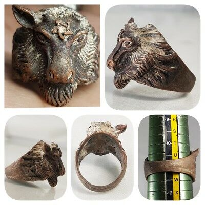 Ancient Bronze Beautiful Lovely Wild Animal Ring  # y2
