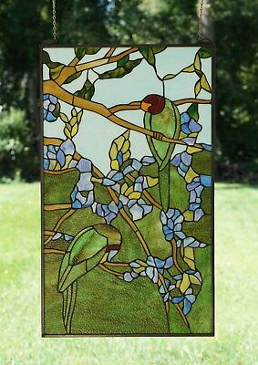 "20"" x 34"" Tiffany Style stained glass window panel 2 parrots birds on the tree"