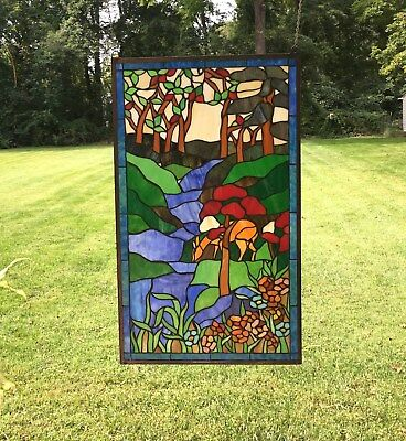Large Tiffany Style stained glass window panel Deer Drinking Water