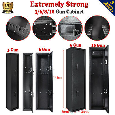 3/6/8/10 Gun Cabinet Steel Security Lockable Safe Storage Rifle Shotgun Firearm