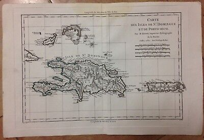 Hispaniola Porto Rico Dated 1782 By Bonne Antique Copper Engraved Map