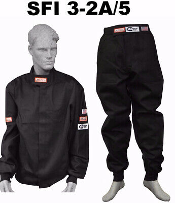 Drag Racing Fire Suit Jacket & Pants 2 Layer  Sfi 5 Race Sfi 3-2A/5 Black Xl