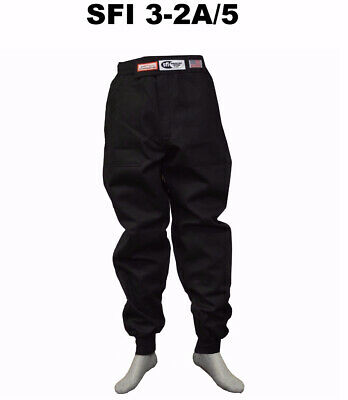 Drag Racing Fire Suit Pants 2 Layer  Sfi 5 Race Suit Sfi 3-2A/5 Black Medium